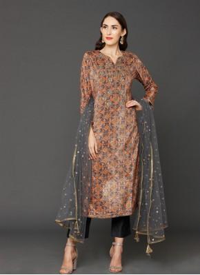 Invaluable Embroidered Velvet Multi Colour Salwar Suit