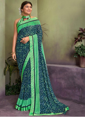 Invaluable Georgette Border Blue Classic Saree