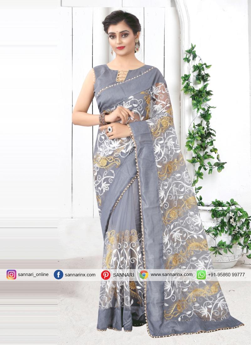 Invaluable Net Print Grey Printed Saree