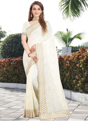 Invaluable Off White Wedding Silk Saree