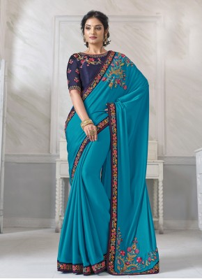 Invigorating Blue Ceremonial Designer Saree