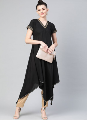 Invigorating Faux Crepe Plain Black Party Wear Kurti
