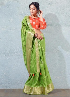 Invigorating Green Silk Traditional Saree