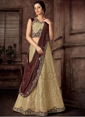 Invigorating Jacquard Silk Beige Lehenga Style Saree