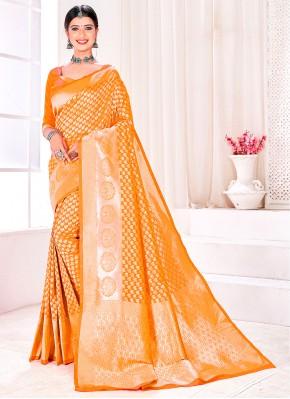 Invigorating Mustard Fancy Traditional Designer Saree