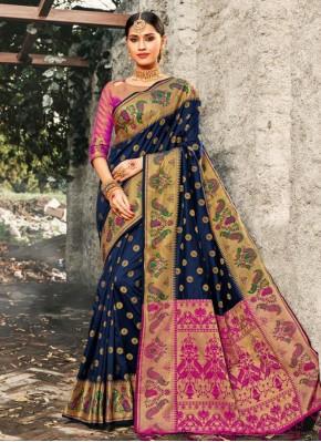 Invigorating Weaving Navy Blue Banarasi Silk Traditional Saree