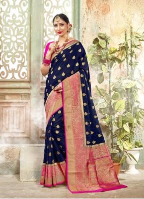 Invigorating Woven Blue Banarasi Silk Traditional Designer Saree