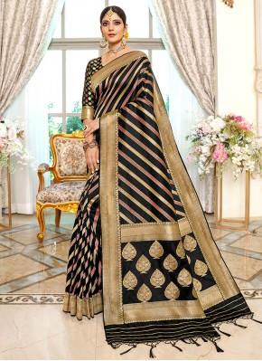 Irresistible Black Banarasi Silk Traditional Saree