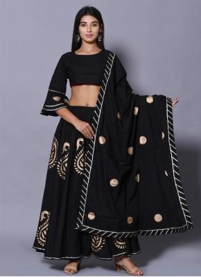 Irresistible Block Print Black Cotton Lehenga Choli