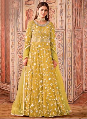 Irresistible Net Yellow Sequins Floor Length Designer Suit