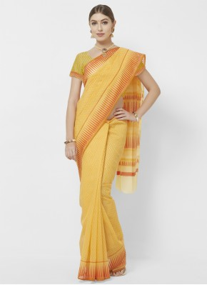 Irresistible Orange and Yellow Casual Printed Saree