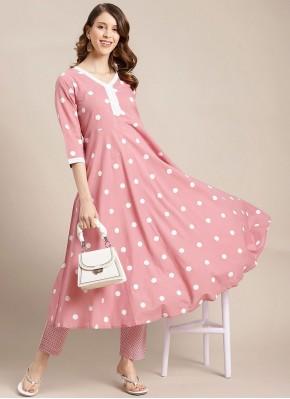 Irresistible Pink Print Blended Cotton Party Wear Kurti
