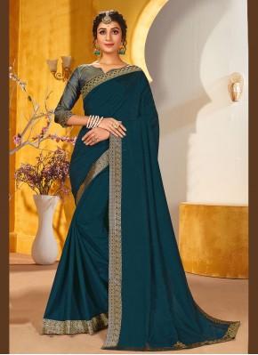 Irresistible Rama Patch Border Vichitra Silk Traditional Saree