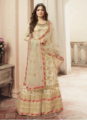 Jacquard Cream Resham Salwar Kameez