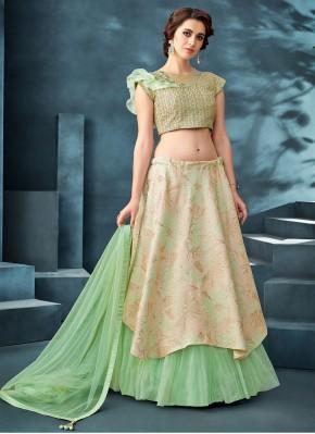 Jacquard Embroidered Beige and Sea Green Designer A Line Lehenga Choli