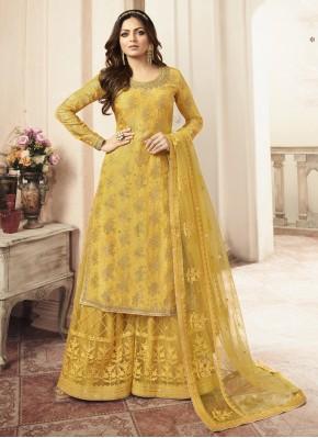 Jacquard Embroidered Yellow Palazzo Salwar Kameez