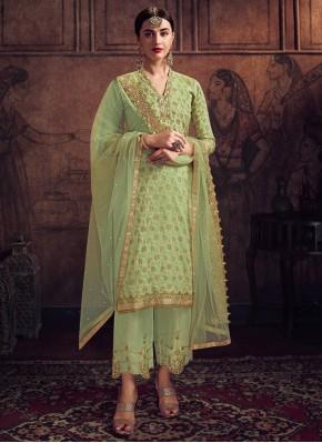 Jacquard Green Trendy Salwar Suit