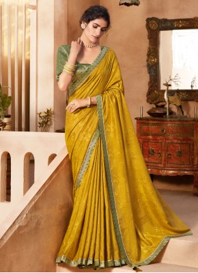Jacquard Lace Trendy Saree in Mustard