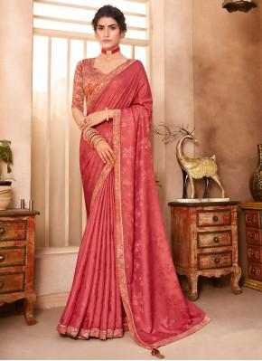 Jacquard Pink Lace Classic Designer Saree