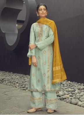Jacquard Silk Blue Designer Palazzo Salwar Kameez