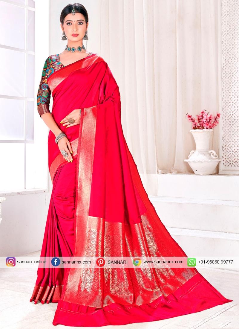 Jacquard Silk Crimson Fancy Traditional Saree