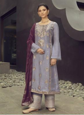 Jacquard Silk Embroidered Lavender Designer Palazzo Salwar Suit