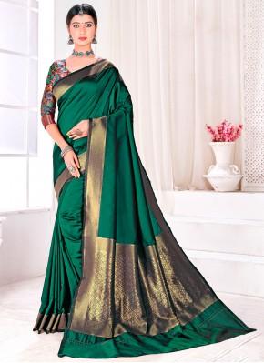 Jacquard Silk Green Fancy Traditional Designer Saree