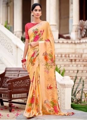 Jazzy Abstract Print Satin Multi Colour Traditional Saree