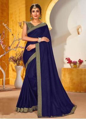 Jazzy Blue Vichitra Silk Traditional Saree