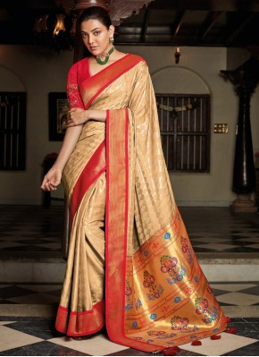Jazzy Embroidered Beige Traditional Saree