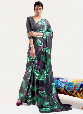 Jazzy Print Faux Crepe Multi Colour Printed Saree