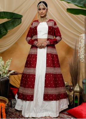Jazzy Thread White Chinon Trendy Lehenga Choli