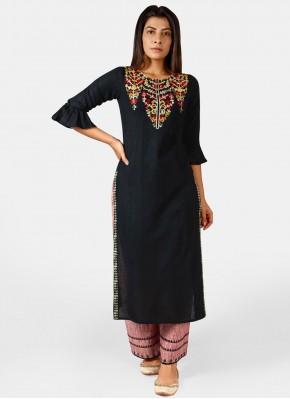 Khadi Embroidered Black Party Wear Kurti