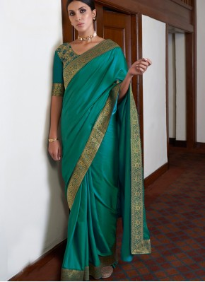 Lace Art Silk Classic Saree in Green