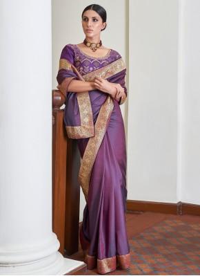 Lace Art Silk Traditional Designer Saree in Purple