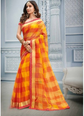 Lace Cotton Casual Saree in Multi Colour