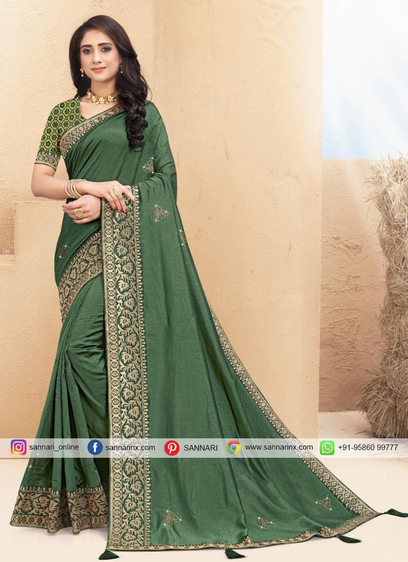 Lace Silk Classic Saree in Green