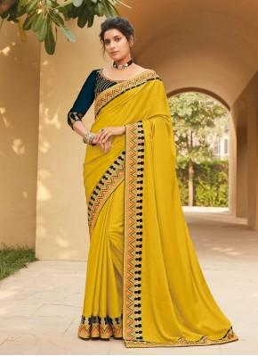 Lace Silk Classic Saree in Yellow