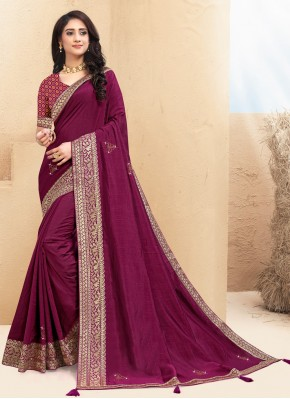 Lace Silk Contemporary Saree in Wine