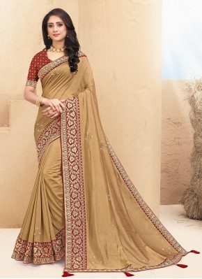 Lace Silk Designer Saree in Brown