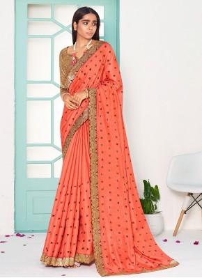 Lace Silk Designer Traditional Saree in Orange