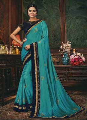 Latest Aqua Blue Silk Designer Traditional Saree