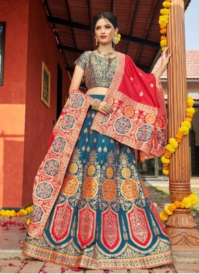 Latest Banarasi Silk Weaving Multi Colour Lehenga Choli