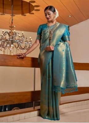 Latest Blue Fancy Raw Silk Designer Traditional Saree