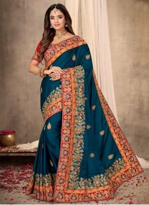 Latest Blue Satin Classic Designer Saree