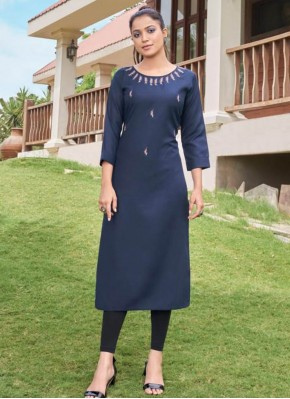 Latest Embroidered Blue Cotton Party Wear Kurti