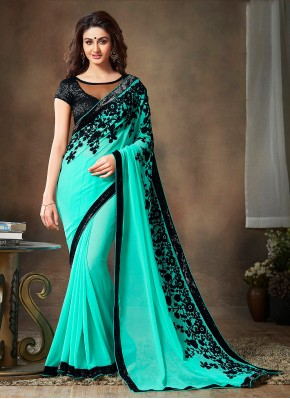 Latest Embroidered Faux Georgette Green Classic Saree