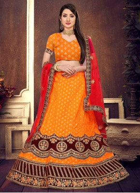 Latest Orange Resham Lehenga Choli