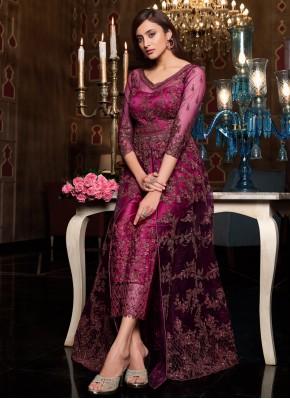 Latest Purple Sequins Floor Length Anarkali Suit