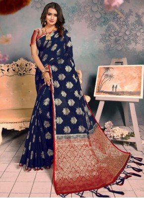 Latest Silk Navy Blue Weaving Classic Saree